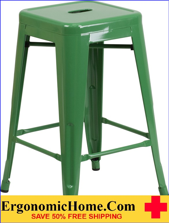 ERGONOMIC HOME 24'' High Backless Green Metal Indoor-Outdoor Counter Height Stool with Square Seat  | <b><font color=green>50% Off Read More Below...</font></b>