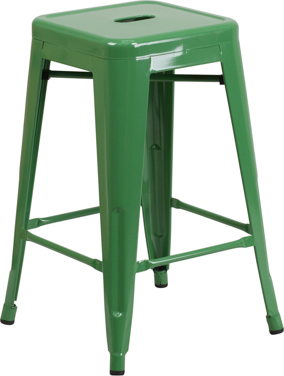 ERGONOMIC HOME 24'' High Backless Green Metal Indoor-Outdoor Counter Height Stool with Square Seat
