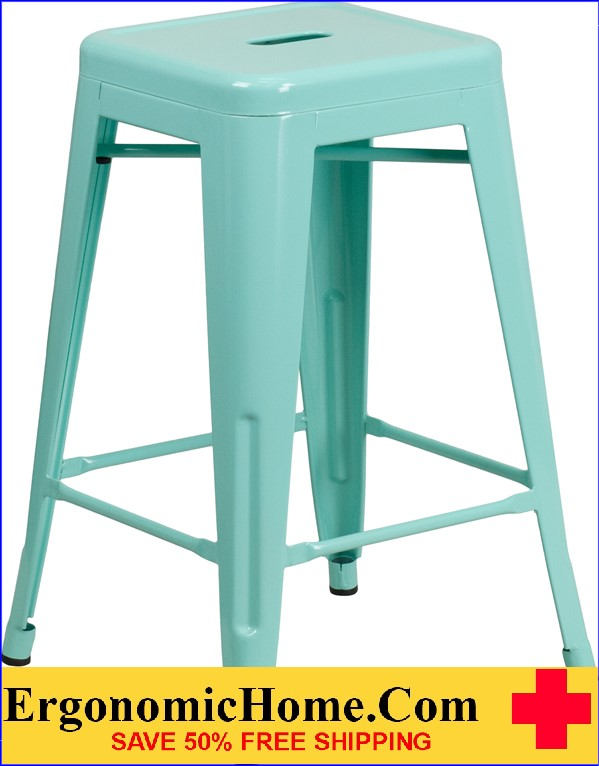 ERGONOMIC HOME 24'' High Backless Mint Green Indoor-Outdoor Counter Height Stool <b><font color=green>50% Off Read More Below...</font></b></font></b>