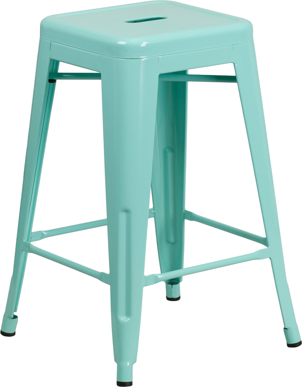 ERGONOMIC HOME 24'' High Backless Mint Green Indoor-Outdoor Counter Height Stool