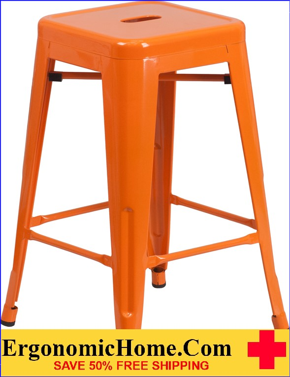 ERGONOMIC HOME 24'' High Backless Orange Metal Indoor-Outdoor Counter Height Stool with Square Seat  | <b><font color=green>50% Off Read More Below...</font></b>