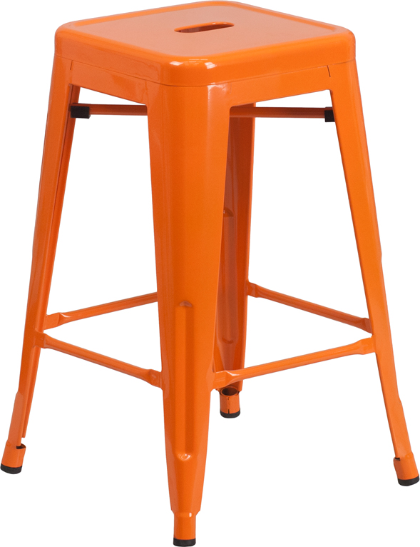 ERGONOMIC HOME 24'' High Backless Orange Metal Indoor-Outdoor Counter Height Stool with Square Seat