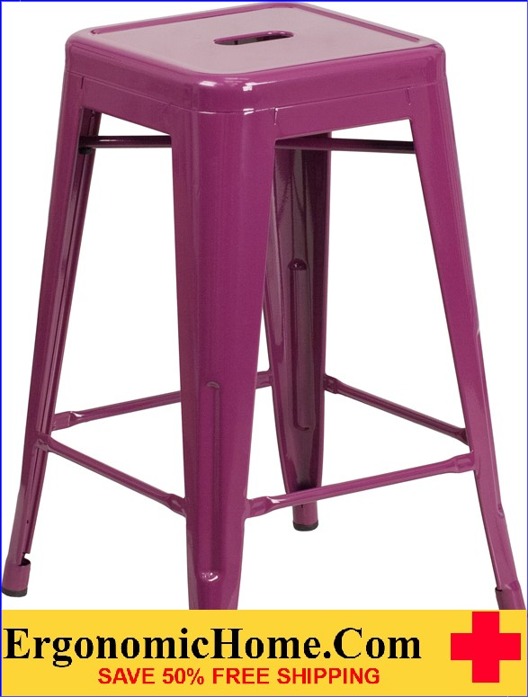 ERGONOMIC HOME 24'' High Backless Purple Indoor-Outdoor Counter Height Stool <b><font color=green>50% Off Read More Below...</font></b>