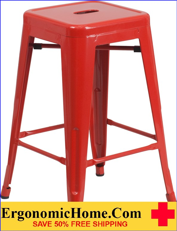 ERGONOMIC HOME 24'' High Backless Red Metal Indoor-Outdoor Counter Height Stool with Square Seat  | <b><font color=green>50% Off Read More Below...</font></b>