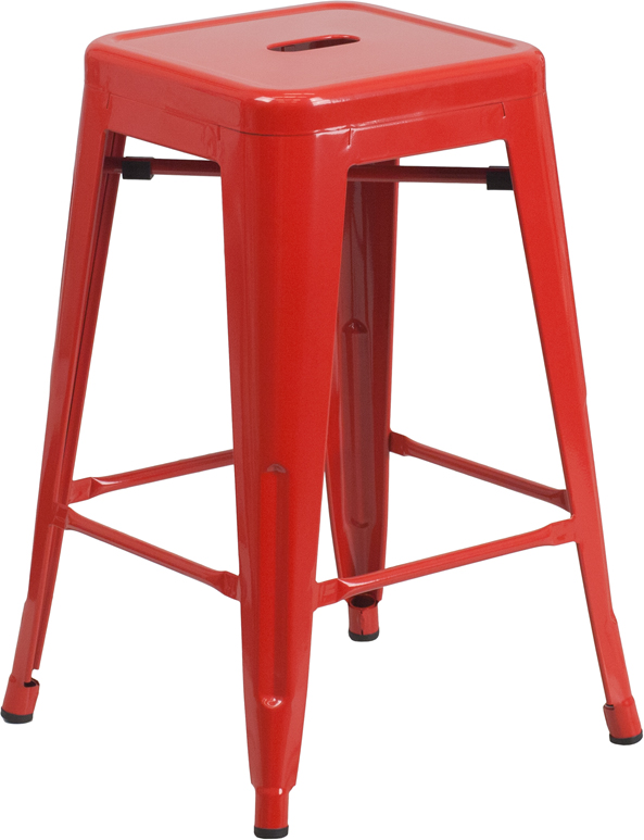 ERGONOMIC HOME 24'' High Backless Red Metal Indoor-Outdoor Counter Height Stool with Square Seat