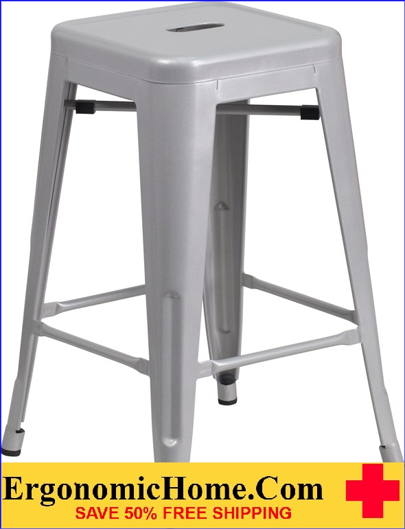 ERGONOMIC HOME 24'' High Backless Silver Metal Indoor-Outdoor Counter Height Stool with Square Seat  | <b><font color=green>50% Off Read More Below...</font></b>