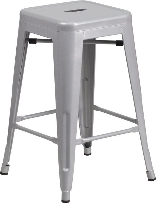 ERGONOMIC HOME 24'' High Backless Silver Metal Indoor-Outdoor Counter Height Stool with Square Seat