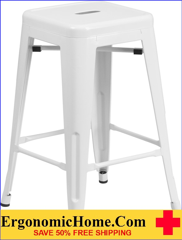 ERGONOMIC HOME 24'' High Backless White Metal Indoor-Outdoor Counter Height Stool with Square Seat  | <b><font color=green>50% Off Read More Below...</font></b>
