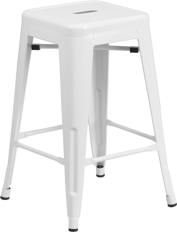 ERGONOMIC HOME 24'' High Backless White Metal Indoor-Outdoor Counter Height Stool with Square Seat
