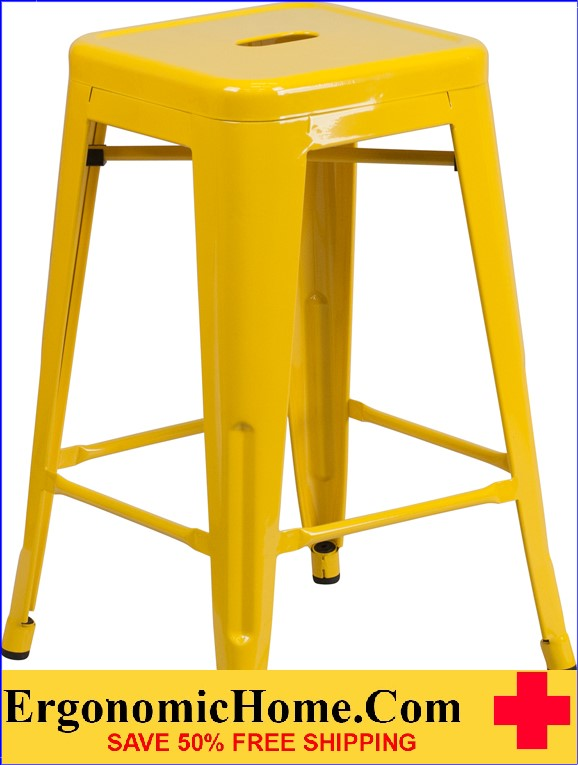 ERGONOMIC HOME 24'' High Backless Yellow Metal Indoor-Outdoor Counter Height Stool with Square Seat|<b><font color=green>50% Off Read More Below...</font></b></font></b>