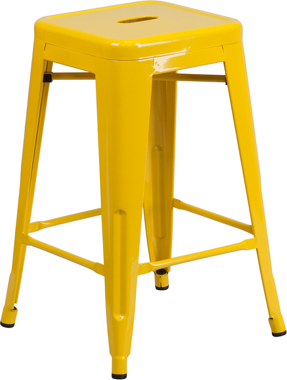 ERGONOMIC HOME 24'' High Backless Yellow Metal Indoor-Outdoor Counter Height Stool with Square Seat