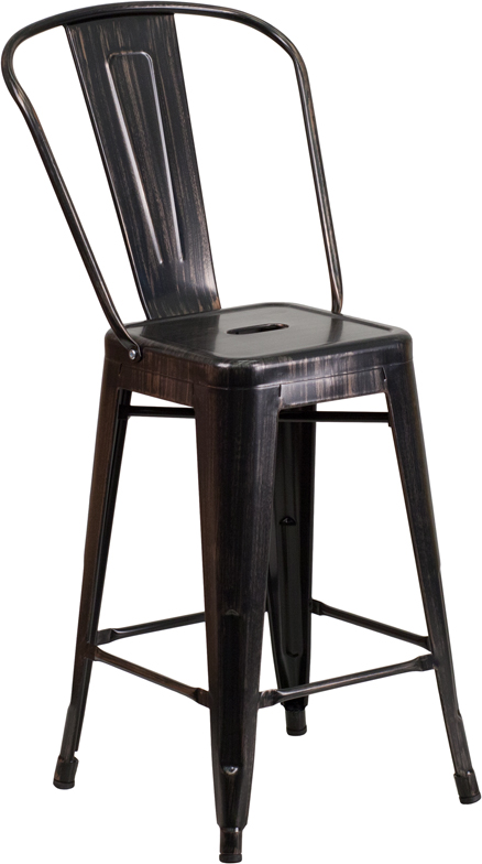 ERGONOMIC HOME 24'' High Black-Antique Gold Metal Indoor-Outdoor Counter Height Stool with Back