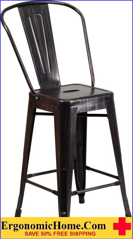 ERGONOMIC HOME 24'' High Black-Antique Gold Metal Indoor-Outdoor Counter Height Stool with Back|<b><font color=green>50% Off Read More Below...</font></b></font></b>