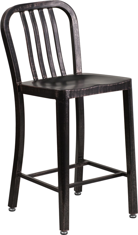 ERGONOMIC HOME 24'' High Black-Antique Gold Metal Indoor-Outdoor Counter Height Stool with Vertical Slat Back