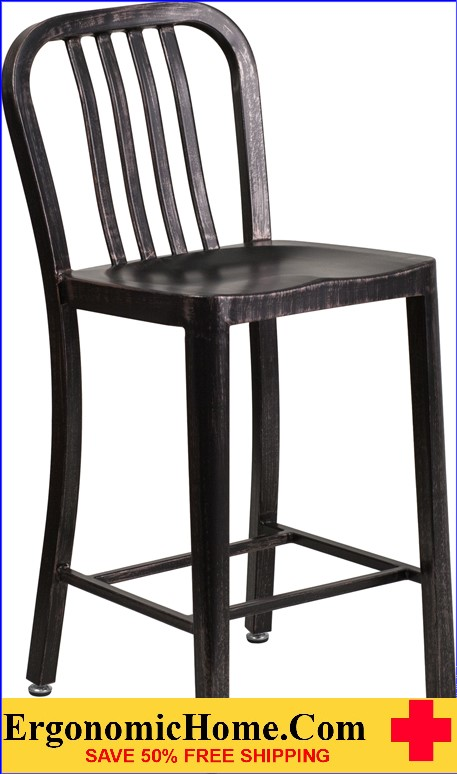 ERGONOMIC HOME 24'' High Black-Antique Gold Metal Indoor-Outdoor Counter Height Stool with Vertical Slat Back|<b><font color=green>50% Off Read More Below...</font></b></font></b>