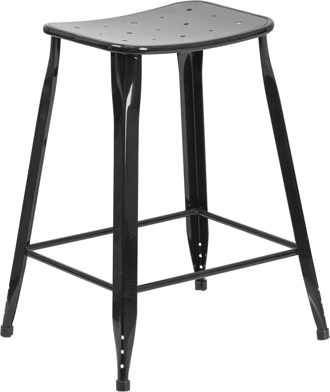 ERGONOMIC HOME 24'' High Black Metal Indoor-Outdoor Counter Height Stool