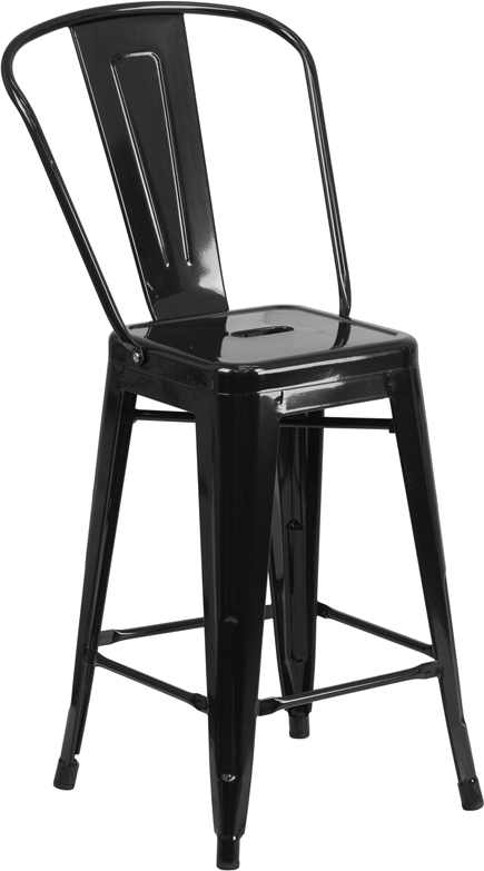 ERGONOMIC HOME 24'' High Black Metal Indoor-Outdoor Counter Height Stool with Back