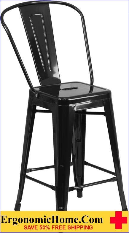 ERGONOMIC HOME 24'' High Black Metal Indoor-Outdoor Counter Height Stool with Back  | <b><font color=green>50% Off Read More Below...</font></b>