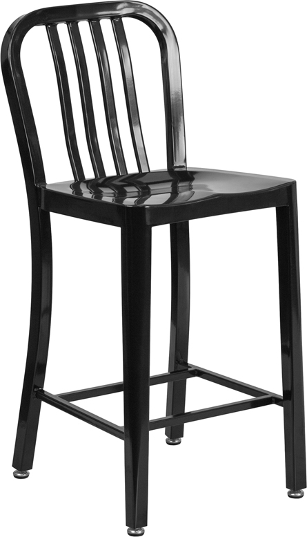 ERGONOMIC HOME 24'' High Black Metal Indoor-Outdoor Counter Height Stool with Vertical Slat Back