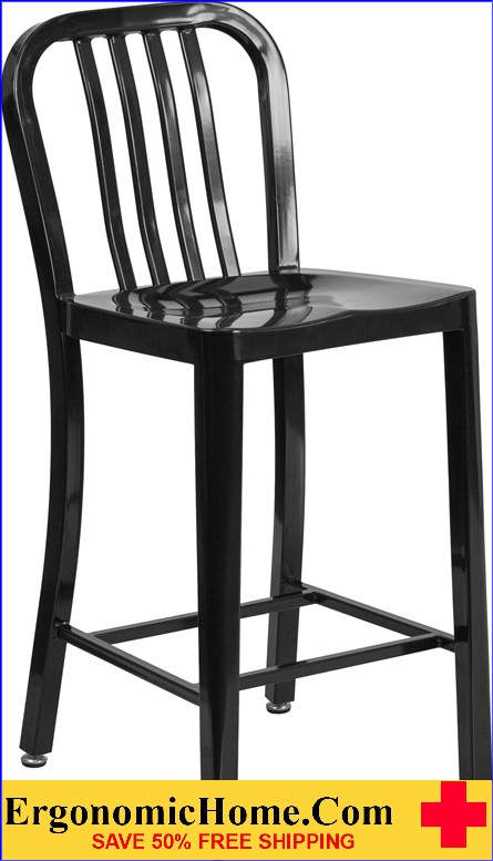 ERGONOMIC HOME 24'' High Black Metal Indoor-Outdoor Counter Height Stool with Vertical Slat Back|<b><font color=green>50% Off Read More Below...</font></b></font></b>