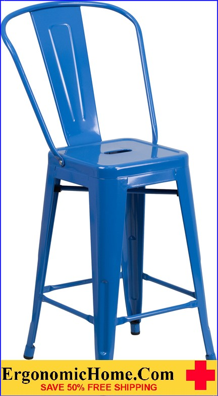 ERGONOMIC HOME 24'' High Blue Metal Indoor-Outdoor Counter Height Stool with Back  | <b><font color=green>50% Off Read More Below...</font></b>