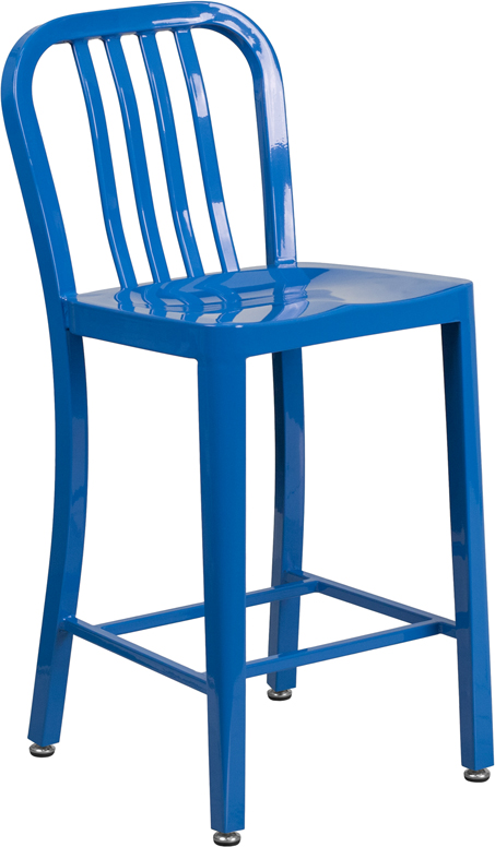 ERGONOMIC HOME 24'' High Blue Metal Indoor-Outdoor Counter Height Stool with Vertical Slat Back