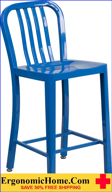 ERGONOMIC HOME 24'' High Blue Metal Indoor-Outdoor Counter Height Stool with Vertical Slat Back|<b><font color=green>50% Off Read More Below...</font></b></font></b>