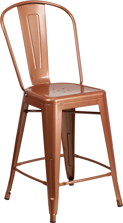 ERGONOMIC HOME 24'' High Copper Metal Indoor-Outdoor Counter Height Stool with Back
