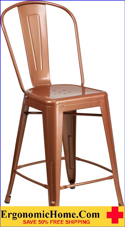ERGONOMIC HOME 24'' High Copper Metal Indoor-Outdoor Counter Height Stool with Back  <b><font color=green>50% Off Read More Below...</font></b></font></b>
