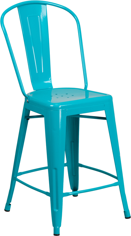 ERGONOMIC HOME 24'' High Crystal Blue Metal Indoor-Outdoor Counter Height Stool with Back