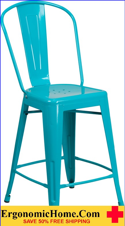 ERGONOMIC HOME 24'' High Crystal Blue Metal Indoor-Outdoor Counter Height Stool with Back <b><font color=green>50% Off Read More Below...</font></b></font></b>