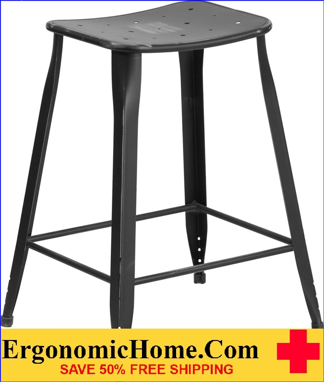 ERGONOMIC HOME 24'' High Distressed Black Metal Indoor-Outdoor Counter Height Stool <b><font color=green>50% Off Read More Below...</font></b>