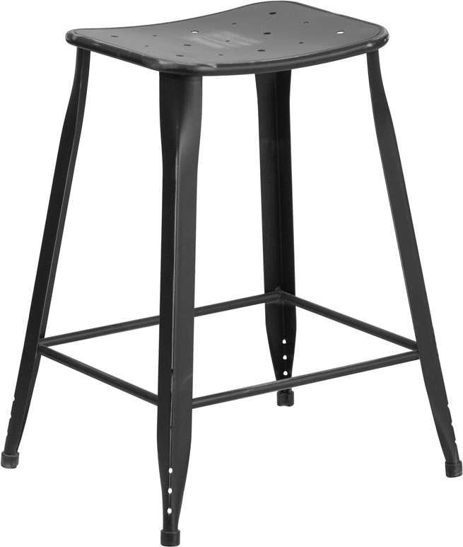 ERGONOMIC HOME 24'' High Distressed Black Metal Indoor-Outdoor Counter Height Stool