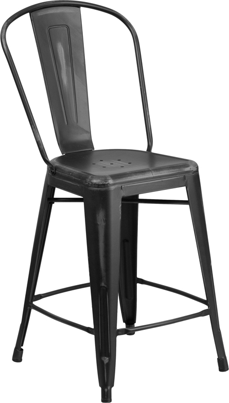 ERGONOMIC HOME 24'' High Distressed Black Metal Indoor-Outdoor Counter Height Stool with Back