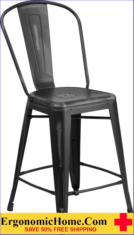 ERGONOMIC HOME 24'' High Distressed Black Metal Indoor-Outdoor Counter Height Stool with Back <b><font color=green>50% Off Read More Below...</font></b></font></b>