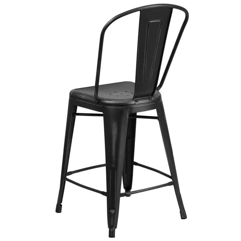 ERGONOMIC HOME 24u0027u0027 High Distressed Black Metal Indoor Outdoor Counter  Height Stool With Back 50% Off Read More Below.