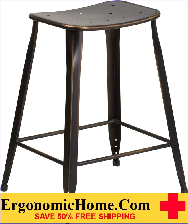 ERGONOMIC HOME 24'' High Distressed Copper Metal Indoor-Outdoor Counter Height Stool <b><font color=green>50% Off Read More Below...</font></b></font></b>