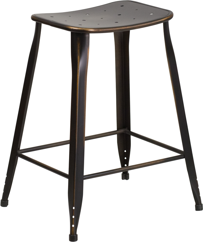 24'' High Distressed Copper Metal Indoor-Outdoor Counter Height Stool