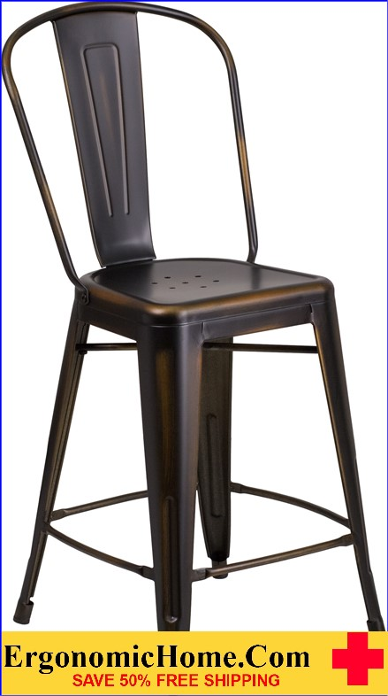 ERGONOMIC HOME 24'' High Distressed Copper Metal Indoor-Outdoor Counter Height Stool with Back  <b><font color=green>50% Off Read More Below...</font></b></font></b>