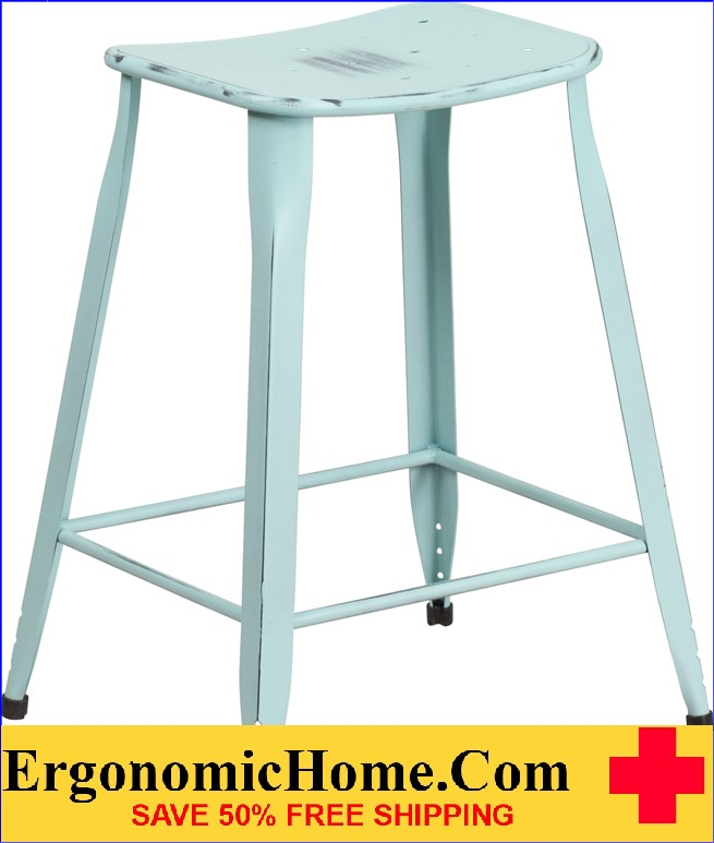 ERGONOMIC HOME 24'' High Distressed Dream Blue Metal Indoor-Outdoor Counter Height Stool <b><font color=green>50% Off Read More Below...</font></b>