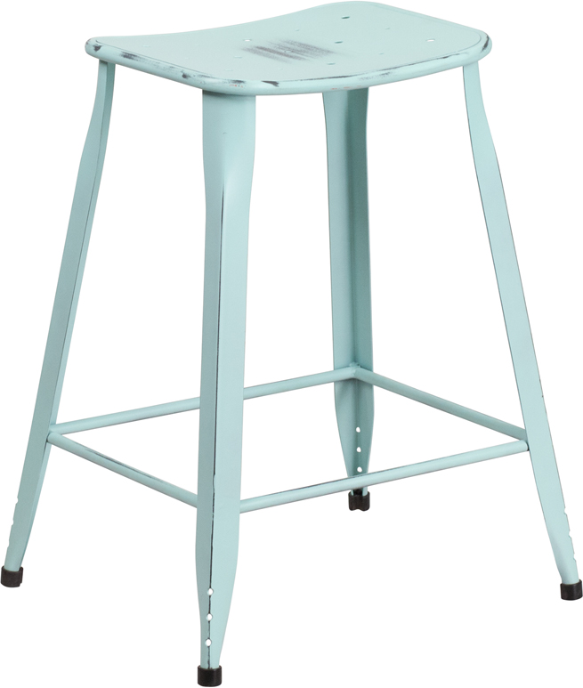 ERGONOMIC HOME 24'' High Distressed Dream Blue Metal Indoor-Outdoor Counter Height Stool