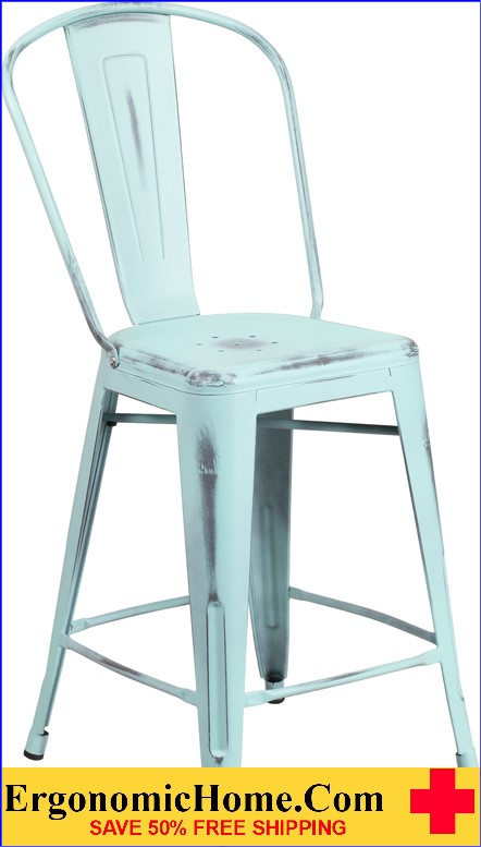 ERGONOMIC HOME 24'' High Distressed Dream Blue Metal Indoor-Outdoor Counter Height Stool with Back  <b><font color=green>50% Off Read More Below...</font></b>