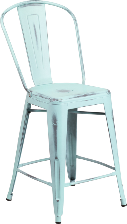 ERGONOMIC HOME 24'' High Distressed Dream Blue Metal Indoor-Outdoor Counter Height Stool with Back