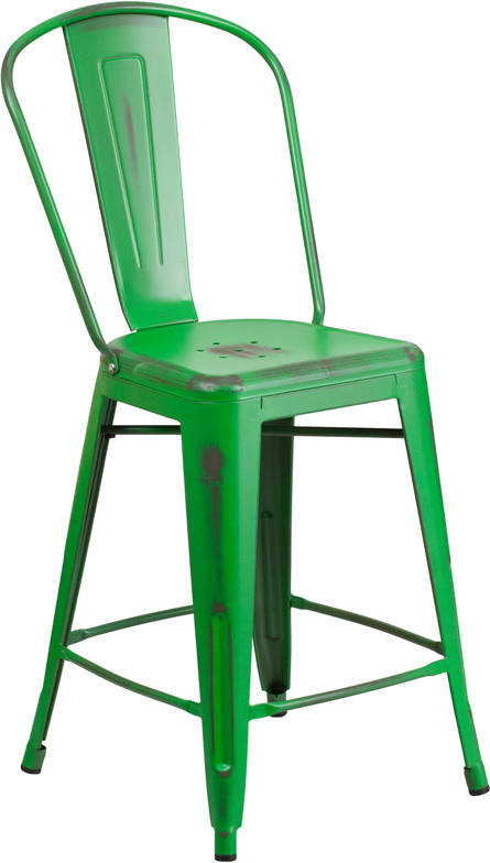 ERGONOMIC HOME 24'' High Distressed Green Metal Indoor-Outdoor Counter Height Stool with Back