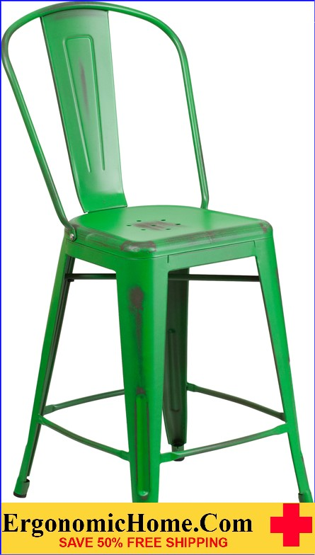 ERGONOMIC HOME 24'' High Distressed Green Metal Indoor-Outdoor Counter Height Stool with Back  <b><font color=green>50% Off Read More Below...</font></b></font></b>