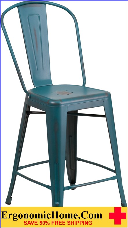 ERGONOMIC HOME 24'' High Distressed Kelly Blue Metal Indoor-Outdoor Counter Height Stool with Back  <b><font color=green>50% Off Read More Below...</font></b></font></b>