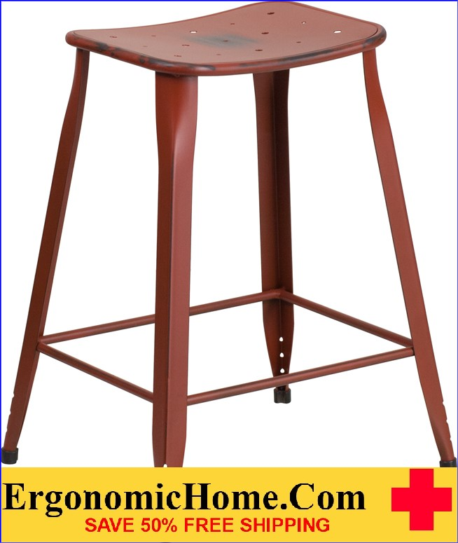 ERGONOMIC HOME 24'' High Distressed Kelly Red Metal Indoor-Outdoor Counter Height Stool <b><font color=green>50% Off Read More Below...</font></b></font></b>