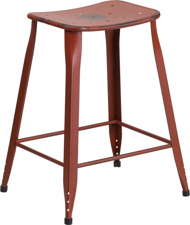 ERGONOMIC HOME 24'' High Distressed Kelly Red Metal Indoor-Outdoor Counter Height Stool