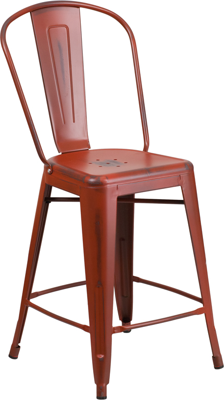 ERGONOMIC HOME 24'' High Distressed Kelly Red Metal Indoor-Outdoor Counter Height Stool with Back