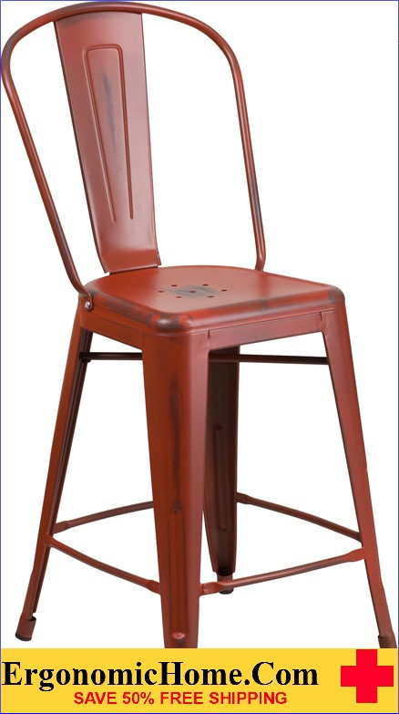 ERGONOMIC HOME 24'' High Distressed Kelly Red Metal Indoor-Outdoor Counter Height Stool with Back <b><font color=green>50% Off Read More Below...</font></b></font></b>